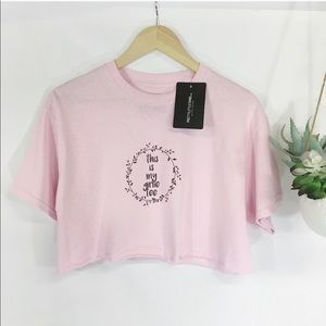 Pretty Little Thing Cropped Tee Pink M